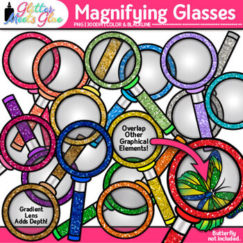 Rainbow Magnifying Glasses Clip Art | Glitter Science & Close Reading Graphics