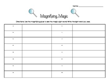 Magnifying Sight Words