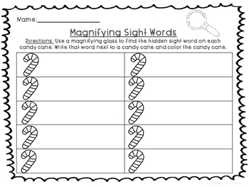 Magnifying Sight Words- Candy Canes