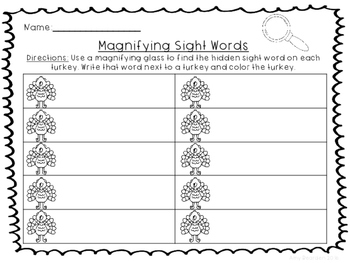 Magnifying Sight Words- Turkeys