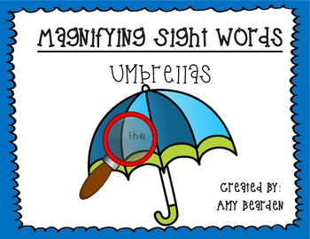 Magnifying Sight Words- Umbrellas