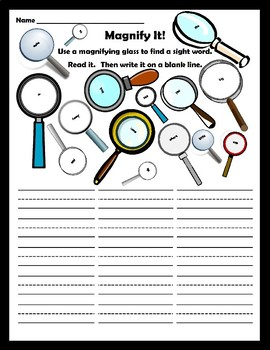 Magnifying Words- Dolch Word Center