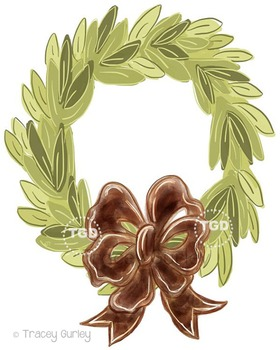 Magnolia Wreath with and without Brown bow Printable Tracey Gurley Designs