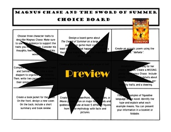Magnus Chase and the Sword of Summer Choice Board Tic Tac Toe Novel Project