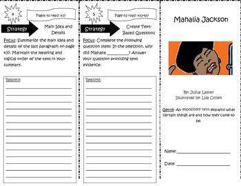 Mahalia Jackson Reading Street 5th Grade Trifold