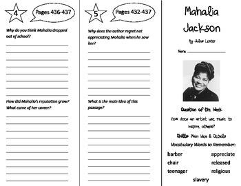Mahalia Jackson Trifold - Reading Street 5th Grade Unit 3 Week 4