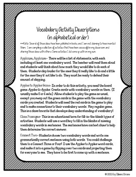 Mahalia Jackson Vocabulary Activities & Games- 5th Grade Unit 3, Story 4