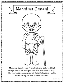 Mahatma Gandhi Coloring Page Craft or Poster with Mini Biography
