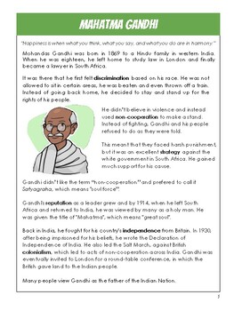 Mahatma Gandhi Activity Pack