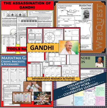 Mahatma Gandhi Timeline Poster Acrostic Poem Activity with Reading Passage