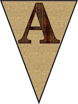 Mahogany Wood & Cork-board Alphabet Banner Pennant