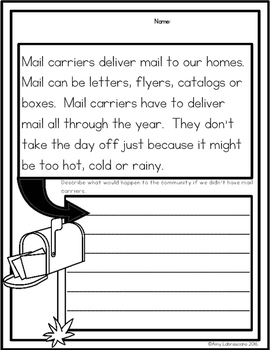 Mail Carrier/ Mailman Reading Passages