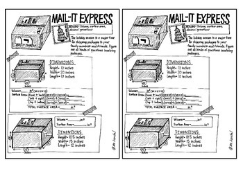 Mail-It Express! One-Page Volume/Surface Area Activity for Grades 4-6+
