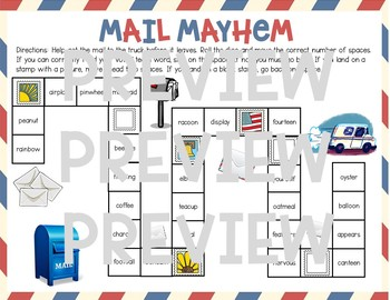 Mail Mayhem Board Game (Multisyllabic Words with Vowel Teams Syllables)