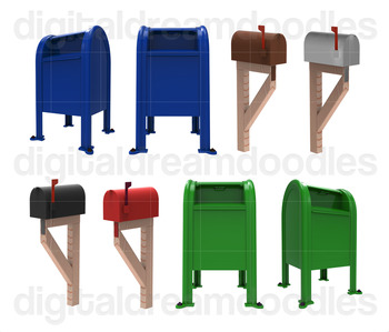Mailbox Clip Art - USA Postal Mail Digital Graphics