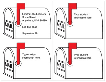 Mailbox Student Address Cards - Printable