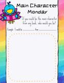 Main Character Monday Google Classroom Activity