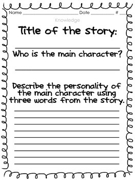 Main Character Reading Responses Using Bloom's Taxonomy