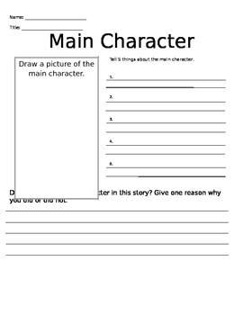 Main Character Worksheet