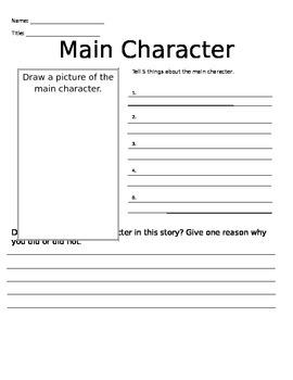 Main Character Worksheet