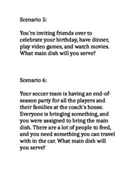 Main Dish Scenarios Activity