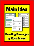 Main Idea Task Cards and Worksheet
