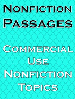 Nonfiction Text Reading Comprehension Passages Commercial Use