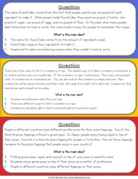 Main Idea and Details Task Cards {Reading Comprehension Passages & Questions}