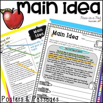 Main Idea Activities Color Coding Non Fiction Reading Passages