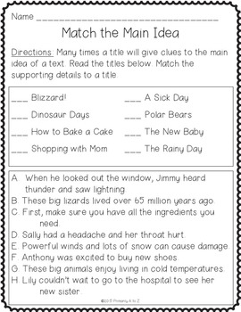 Main Idea and Supporting Details- Anchor Charts, Graphic Organizers & Printables