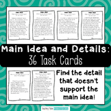 Main Idea and Supporting Details Task Cards - use for Main