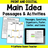 Main Idea Reading Passages BUNDLE for Digital Google Drive Distance Learning