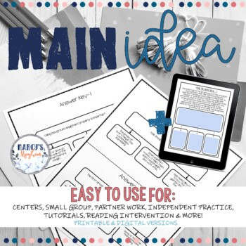 Main Idea and Details Activity Practice for 4th & 5th grade
