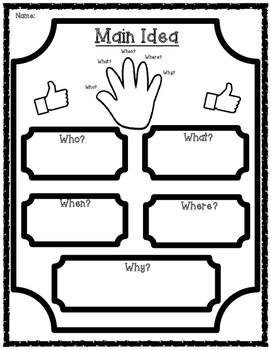 Main Idea 5 W's Graphic Organizers