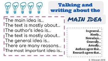 Main Idea Academic Vocabulary (Sentence Starters)