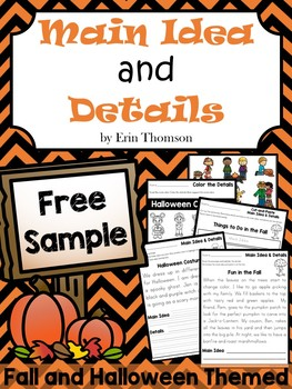 Main Idea Activities ~ FREE SAMPLE {Fall and Halloween Themed}