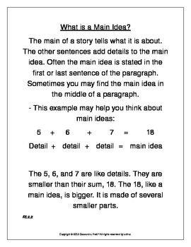 Main Idea Anchor Chart & Assessments aligned with Common Core RI.2.2