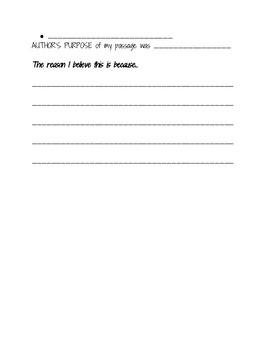 Main Idea, Author's Purpose, ELA State Test Summary Sheet