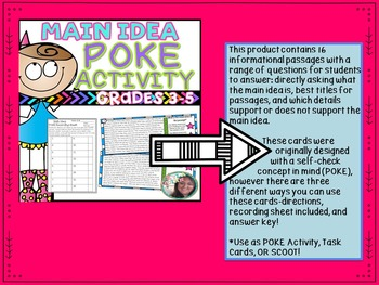 Main Idea BUNDLE: Task Cards, POKE Activity, Printables- 3 in 1!