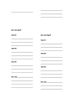 Main Idea Bags Answer Sheet