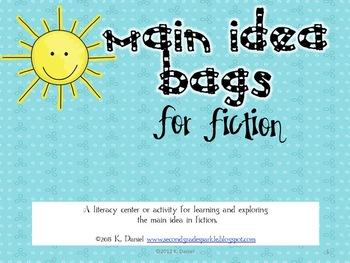 Main Idea Bags: Fiction {Lesson/Literacy Center for Main Idea in Fiction}