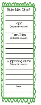 Main Idea Bookmark - green