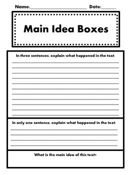 Main Idea Boxes