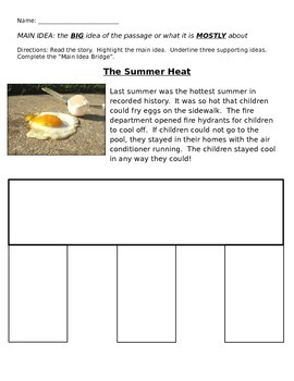 Main Idea Bridge Practice: Summer Heat