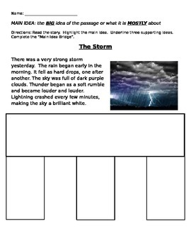 Main Idea Bridge Practice: The Storm
