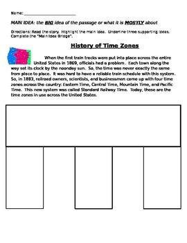 Main Idea Bridge Practice: Time Zones