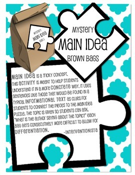 Main Idea Brown Bags - Complete Sentences (Informational Text)