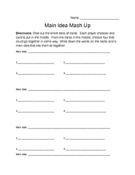 Main Idea Card Game