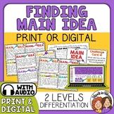Main Idea Task Cards for Print or TpT Digital Activity Dis