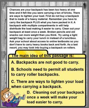 Main Idea Cards on POWERPOINT